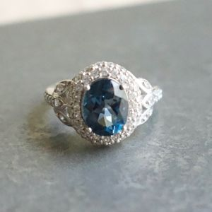 Blue & White Cubic Zirconia SS Ring